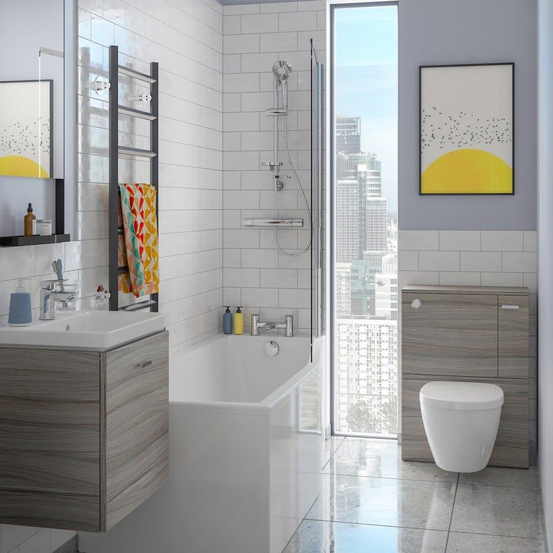 Ideal Standard Concept Space Elm Complete Right Hand Shower Bath Suite 1700 X 700 Bath Screens Wall Hung Toilet Back To Wall Toilets