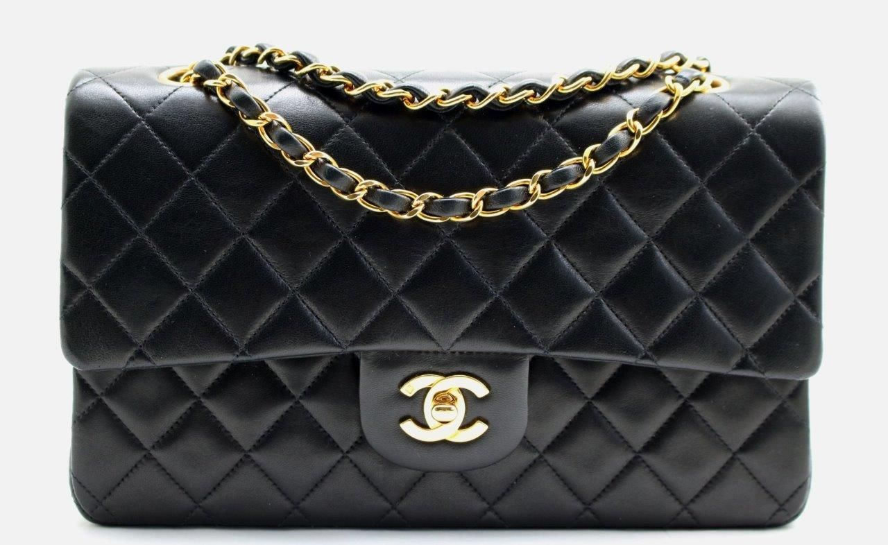 99c493f8d67a CHANEL 10 Vintage Black LAMBSKIN Leather CLASSIC MED 2.55 Double Flap Bag  W GHW