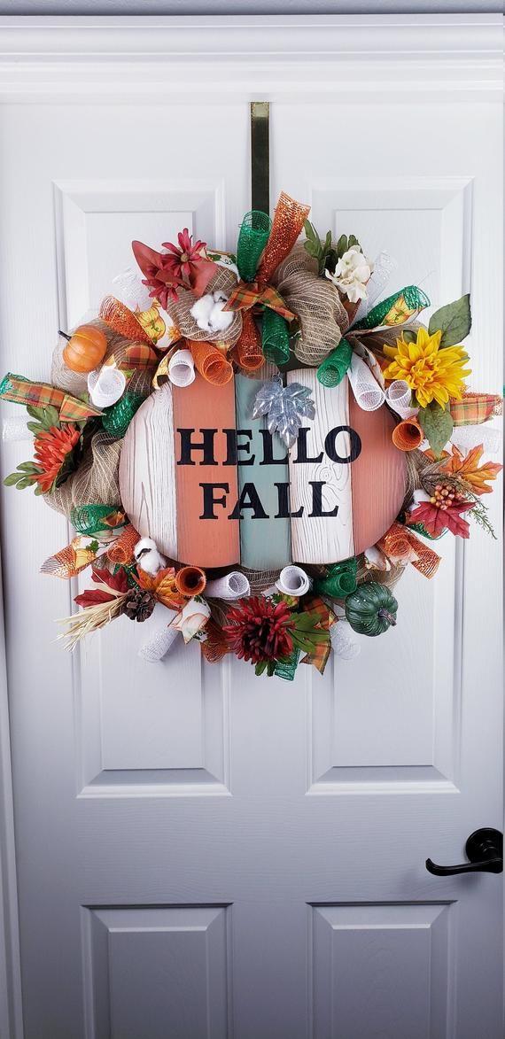 Hello Fall Orange and Green Pumpkin Wreath, Pumpkin Wreath for Front Door, Thanksgiving Home Decor, #hellofall