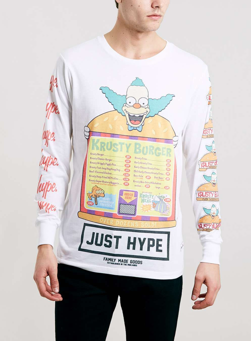ad314a3f05cc64 Hype X The Simpsons Krusty Burger Long Sleeve T-Shirt  - Topman