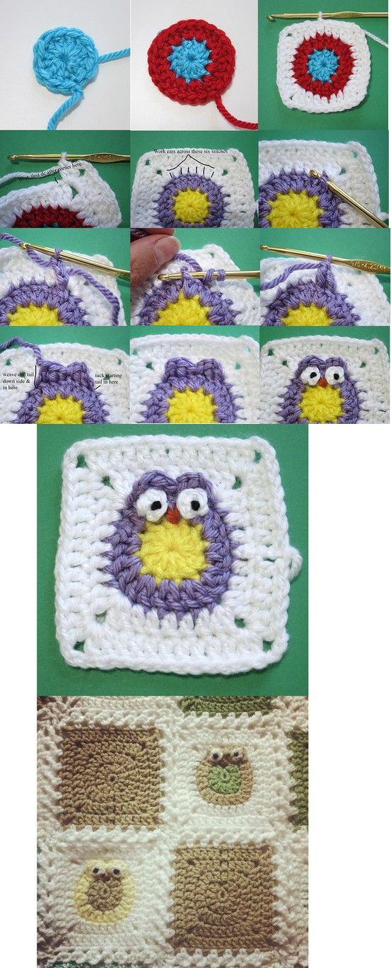 Crochet Owl Granny - Tutorial ❥ 4U // hf | الوحدات المربعة ...