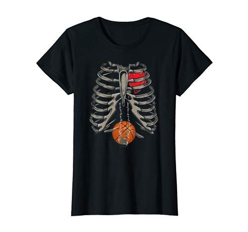 Skeleton Rib Cage Basketball Xray Funny Halloween Gift T Shirt Women #area51partyoutfit