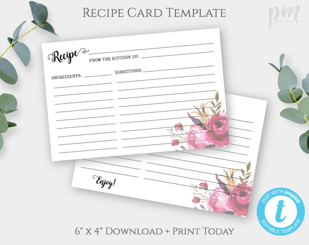 Pink Floral Recipe Card Template Bridal Shower Recipe Card Etsy Recipe Cards Template Bridal Shower Recipes Cards Floral Recipe Cards