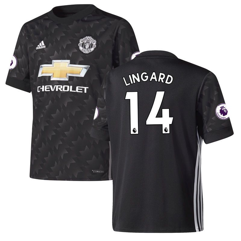 Jesse Lingard Manchester United adidas Youth 2017/18 Away Replica Jersey -  Black