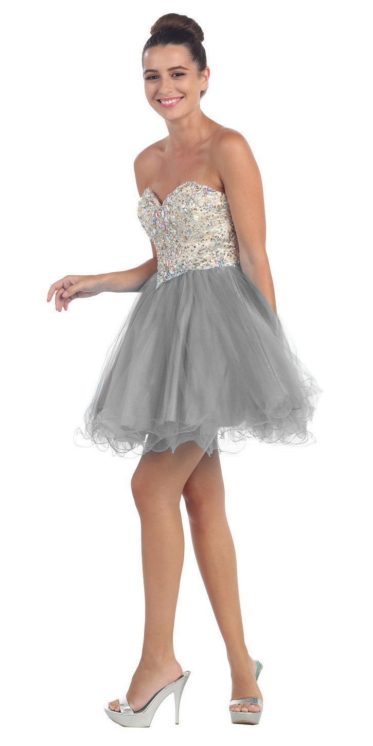Short Poofy Ball Gown Silver Strapless Tulle Skirt A Line | Tulle ...