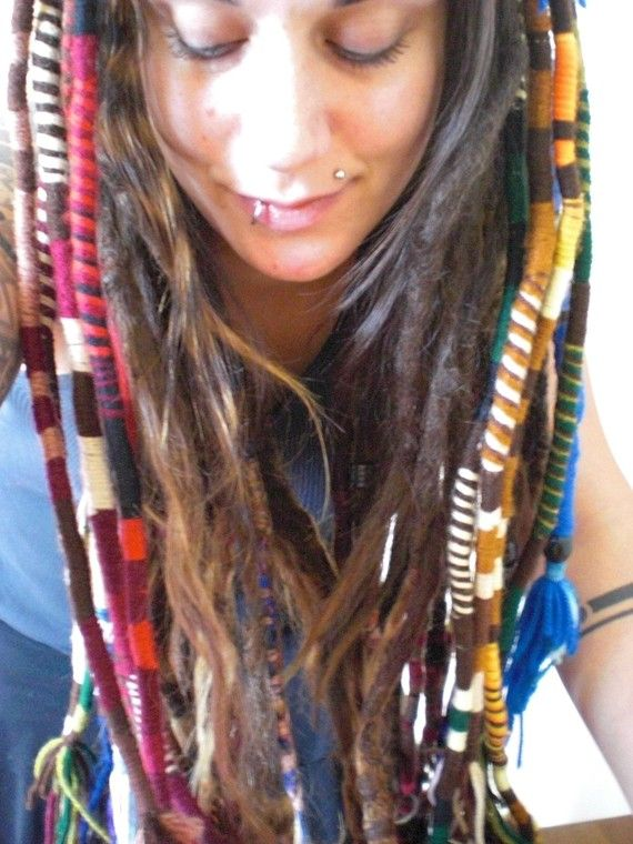 Yess dread love3 pinterest thicker hair extensions and items similar to 6 custom thick hair wrap extension striped yarn atebas single ended loop braid in dread accessories rainbow yarns colors on etsy pmusecretfo Gallery
