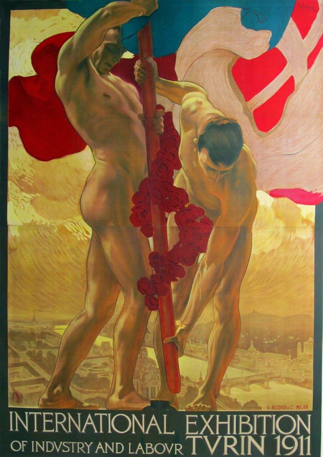 Art nouveau nude male posters art