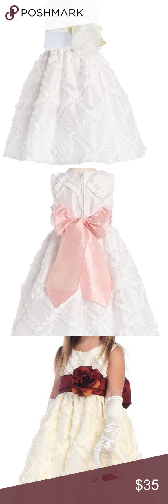 Flower girl dress white taffeta ribboned boutique in posh