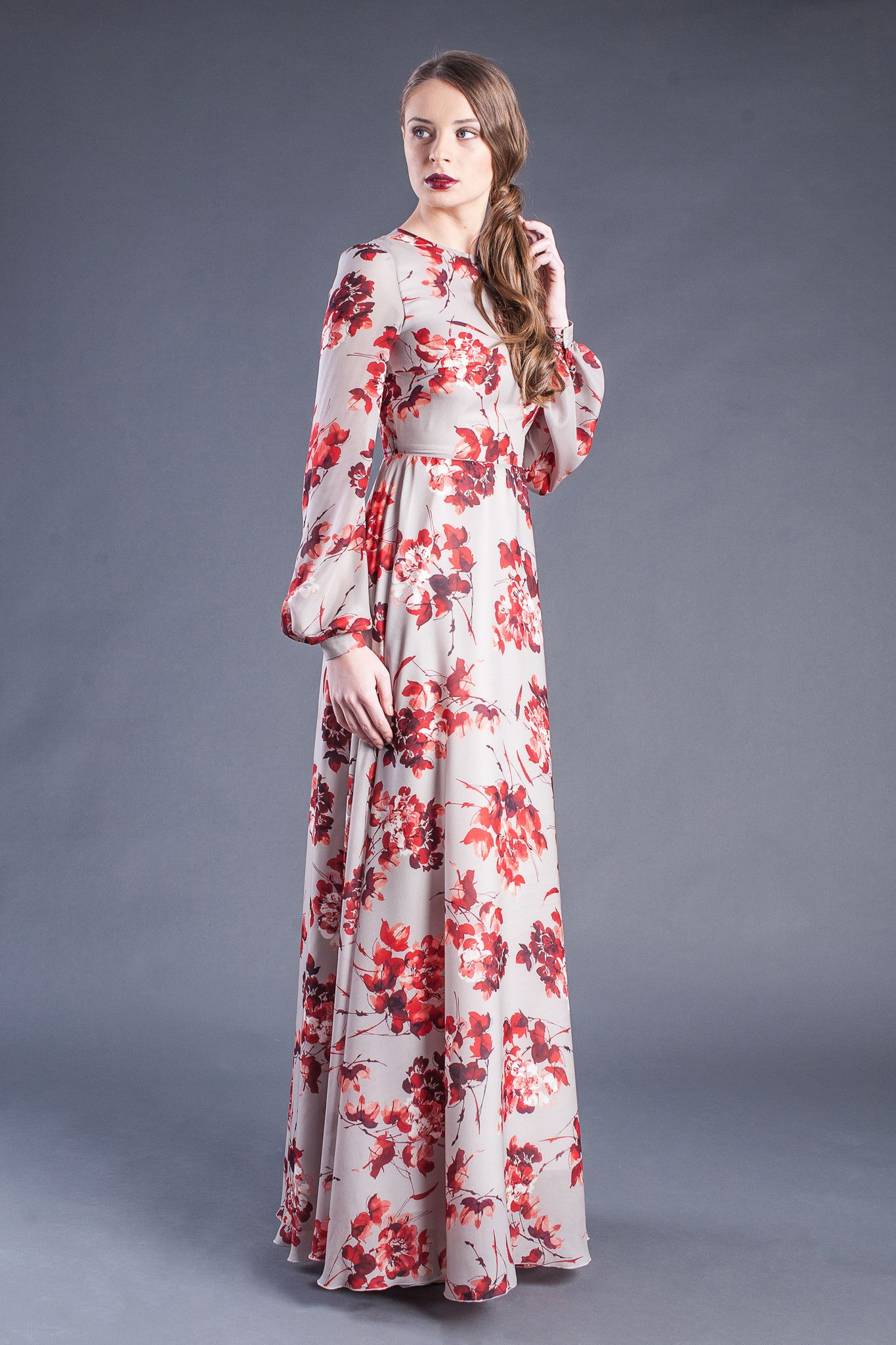 8429fb9d37889 Modest Floral Print Long Sleeve Maxi Dress - Modest floor length ...