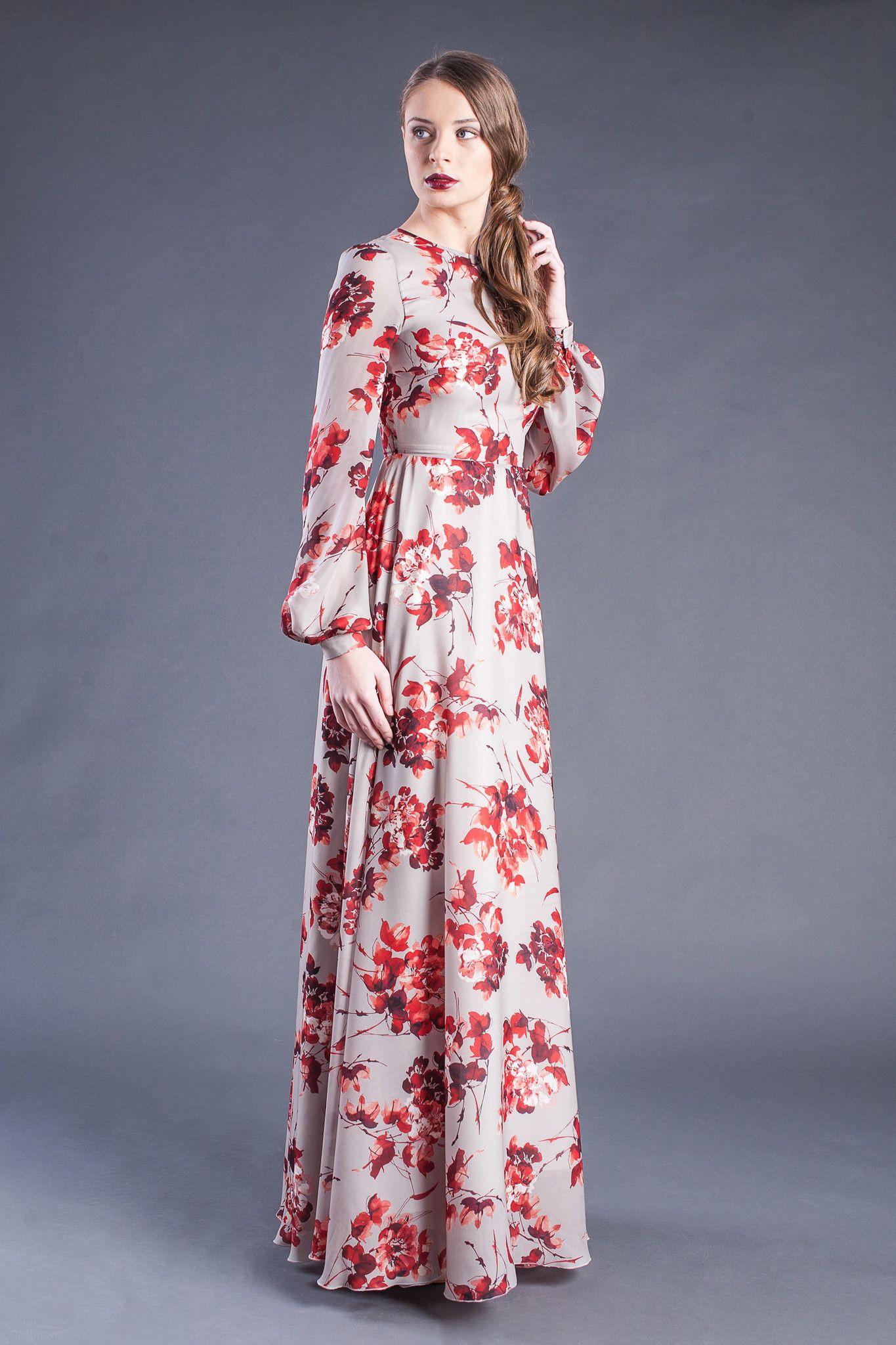 cc8ec0ff8765 Modest Floral Print Long Sleeve Maxi Dress - Modest floor length ...