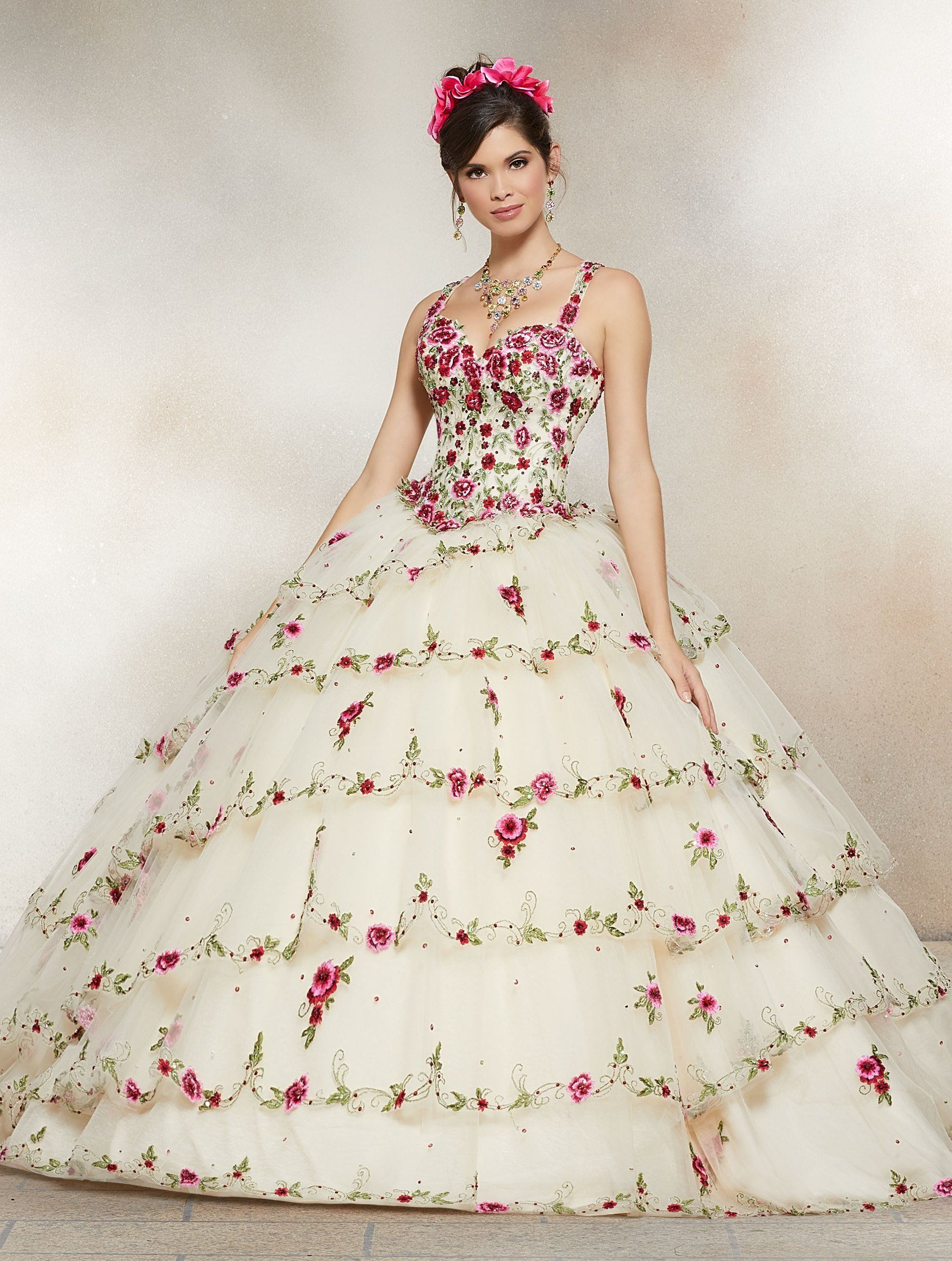 2caf28b178 Floral Beaded Embroidery Quinceanera Dress by Mori Lee Valentina 34008