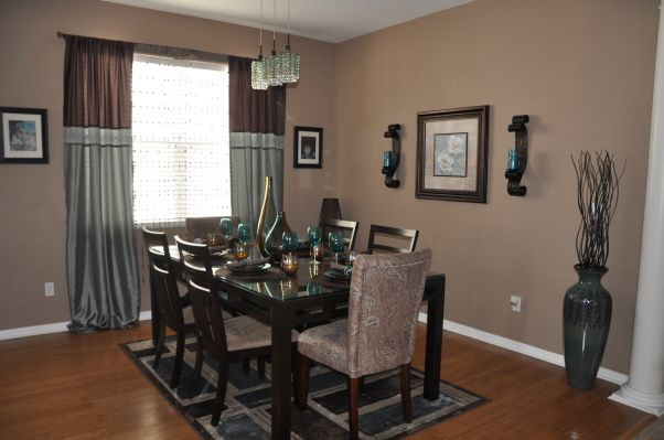 Turquoise And Brown Living Room, Brown And Teal Dining Room