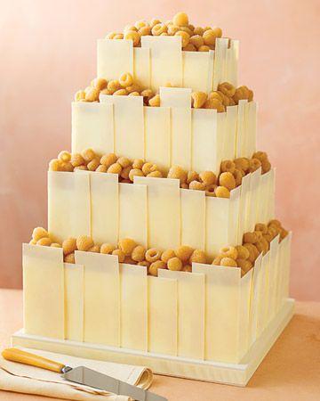White-Chocolate Paneled Wedding Cake - simple!