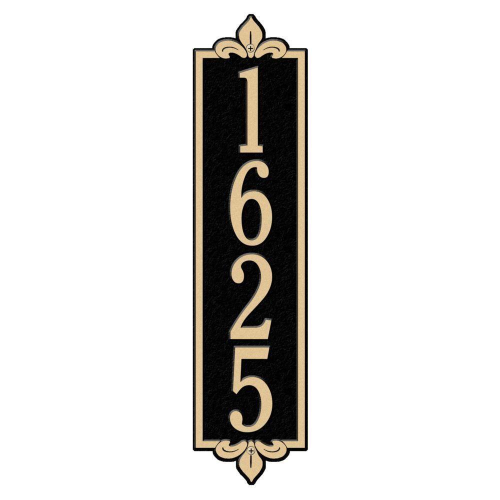 Rectangular Lyon Estate Wall 1-Line Vertical Address Plaque - Black/Gold
