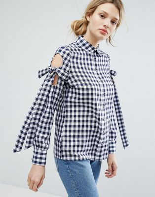 Lost Ink Gingham Shirt With Tie Up Bow Cold Shoulders