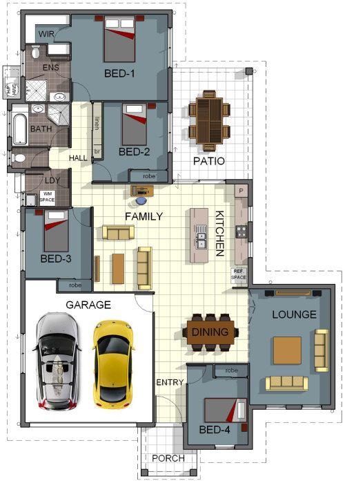 Floor Plan House Design - 4 Bedrooms, Theatre Room, Internal