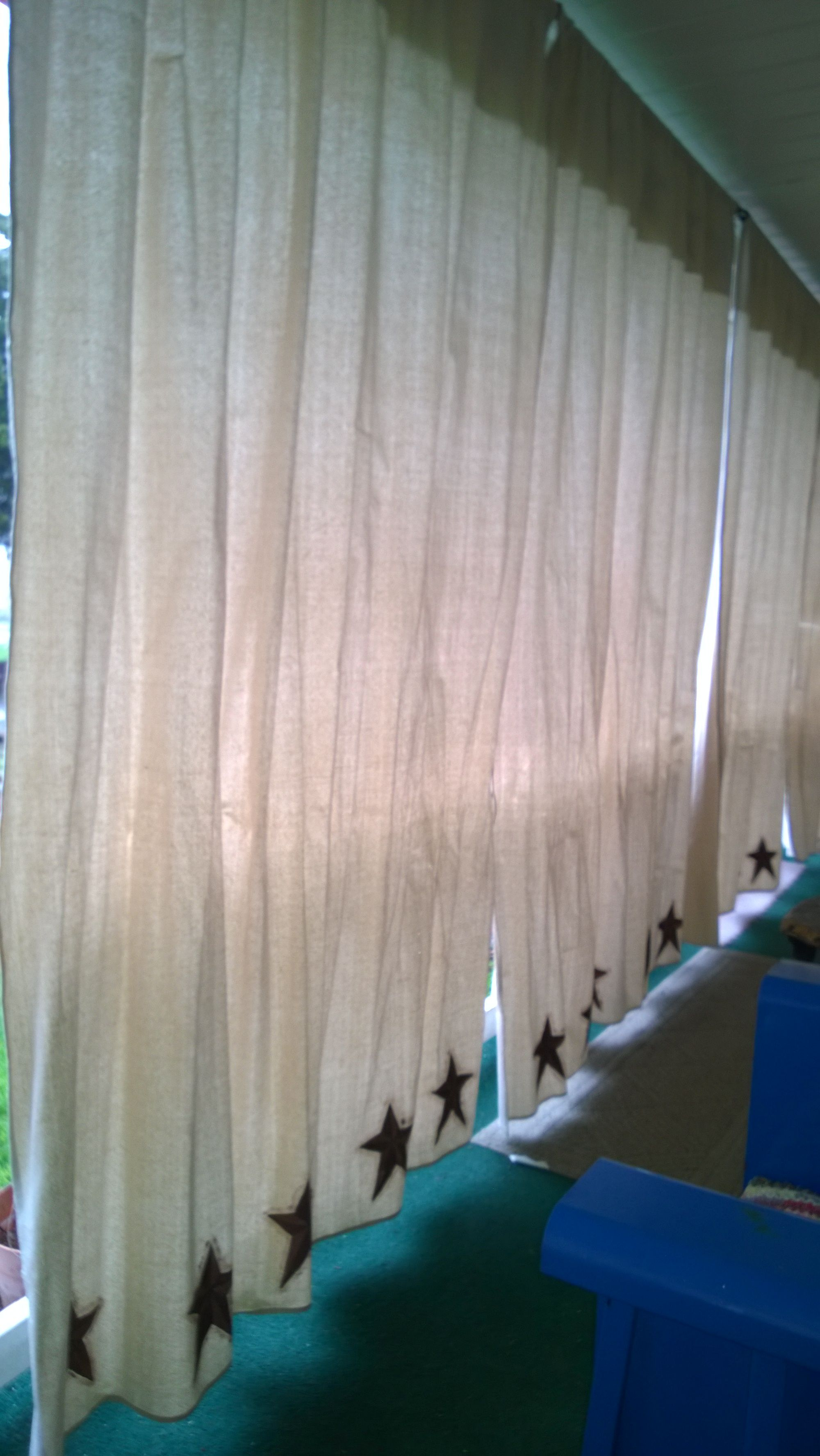 Porch Curtains Made From Painters Canvas And Primitive Barn Stars Hand Painted Love Them