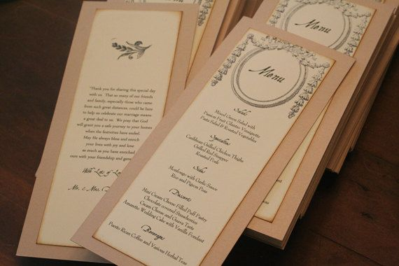 Wedding Menu Cards Ornate Frame French Two Sided Flat Vintage