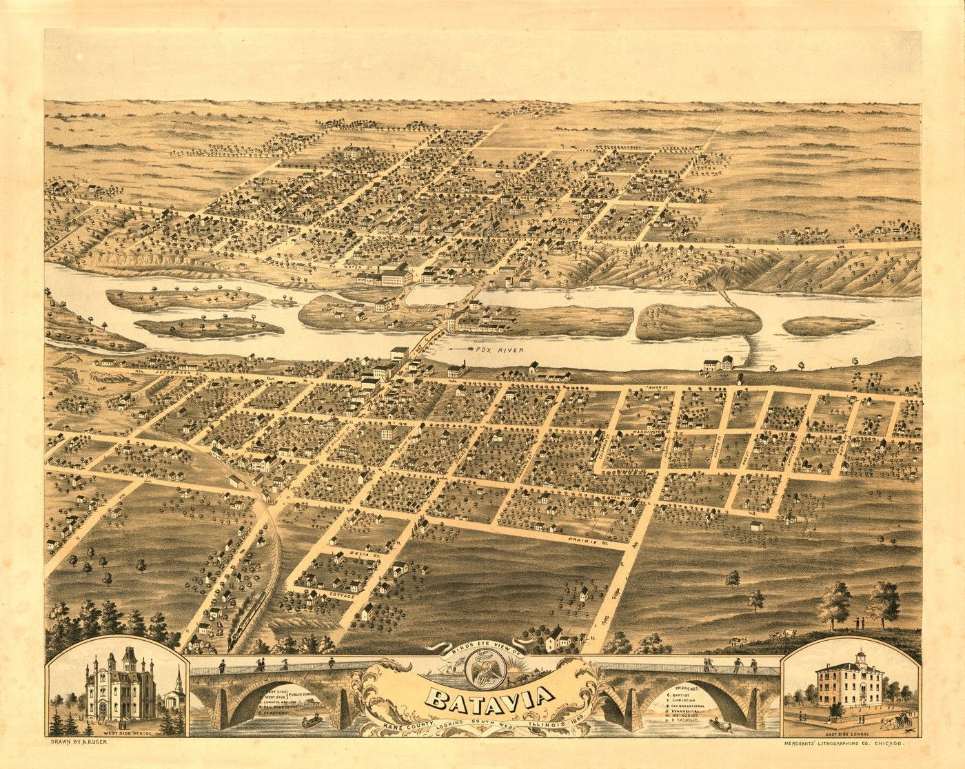 Illinois kane county carpentersville - Old Map Of Batavia Illinois 1869 Kane County Poster