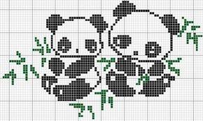 Dos Ositos Panda Disponibles En Cuadricula Punto De Cruz Es Mu