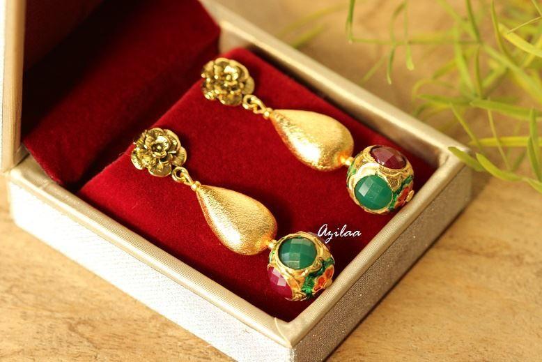 Photo of Golden Flower handgemachte Post Ohrringe