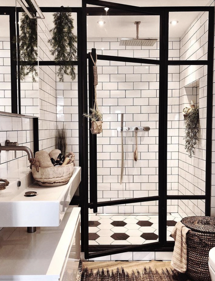 black and white bathroom with subway tile and black frame around glass shower enclosure homeLivingRoom is part of House bathroom -
