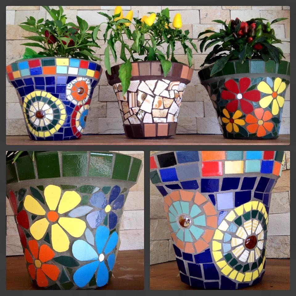 Vasos Coloridos Em Mosaico Mosaico Schandramosaicos Mosaic