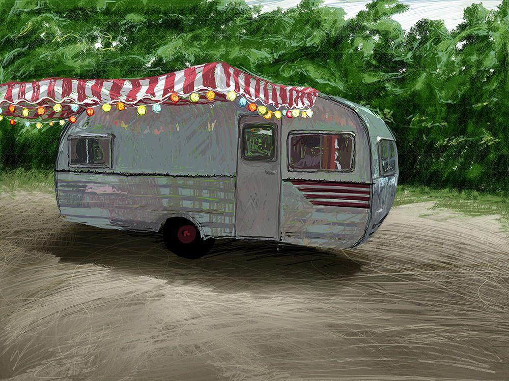 Work-in-progress illustration of a travel trailer.