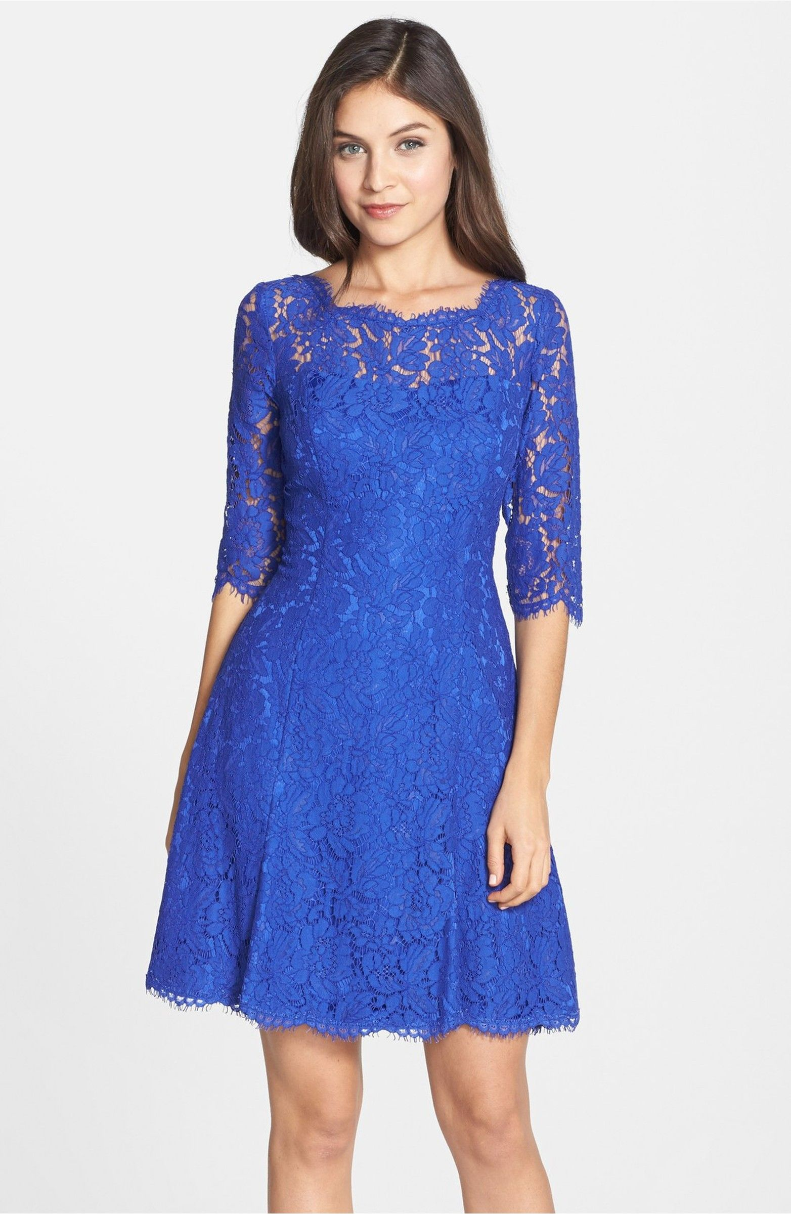 Lace dress navy  Lace Fit u Flare Dress  Fit flare dress Nordstrom and Quarter sleeve