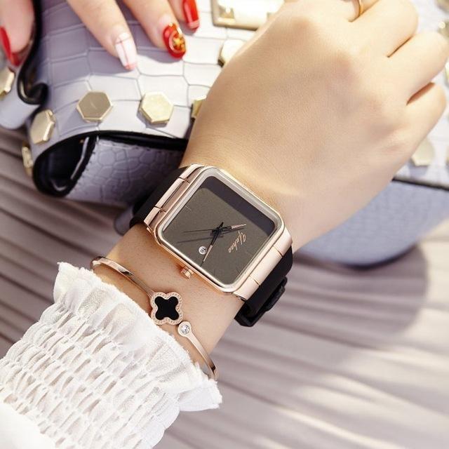 4ea467ead 2017 Brand Women Watches Women Silicone Square reloj mujer Luxury Dress Watch  Ladies Quartz Rose Gold Wrist Watch Montre Femme