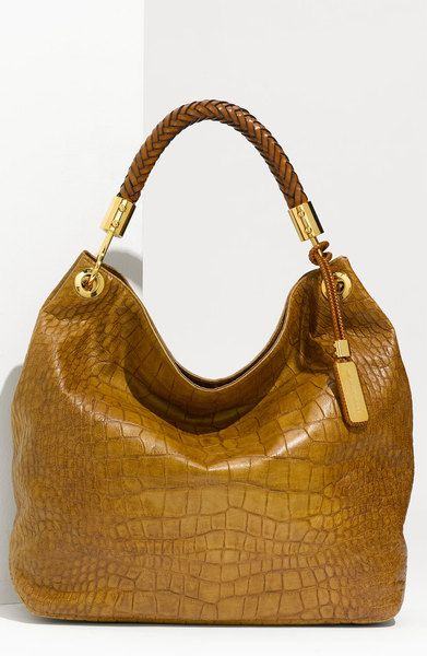 MICHAEL KORS Skorpios - Large Croc Embossed Leather Hobo