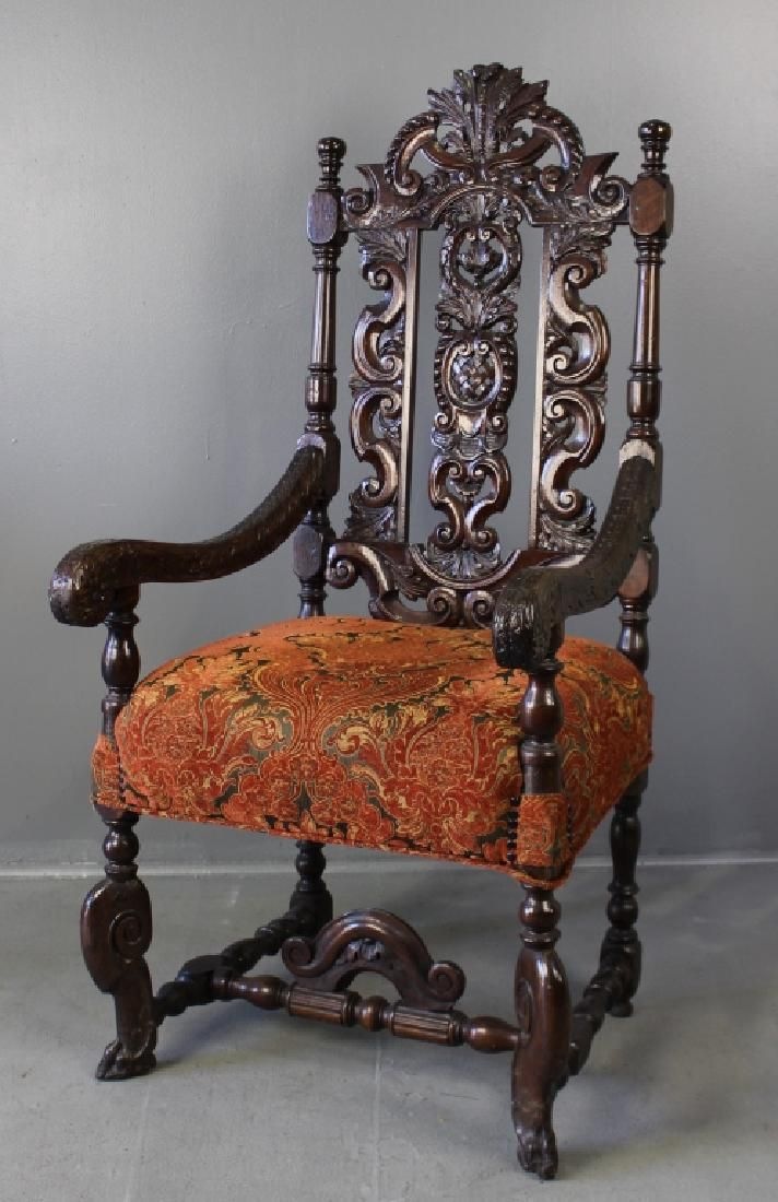High Back Carved Throne Chair ~ new.liveauctioneers.com - High Back Carved Throne Chair On Antiques & Silverware II