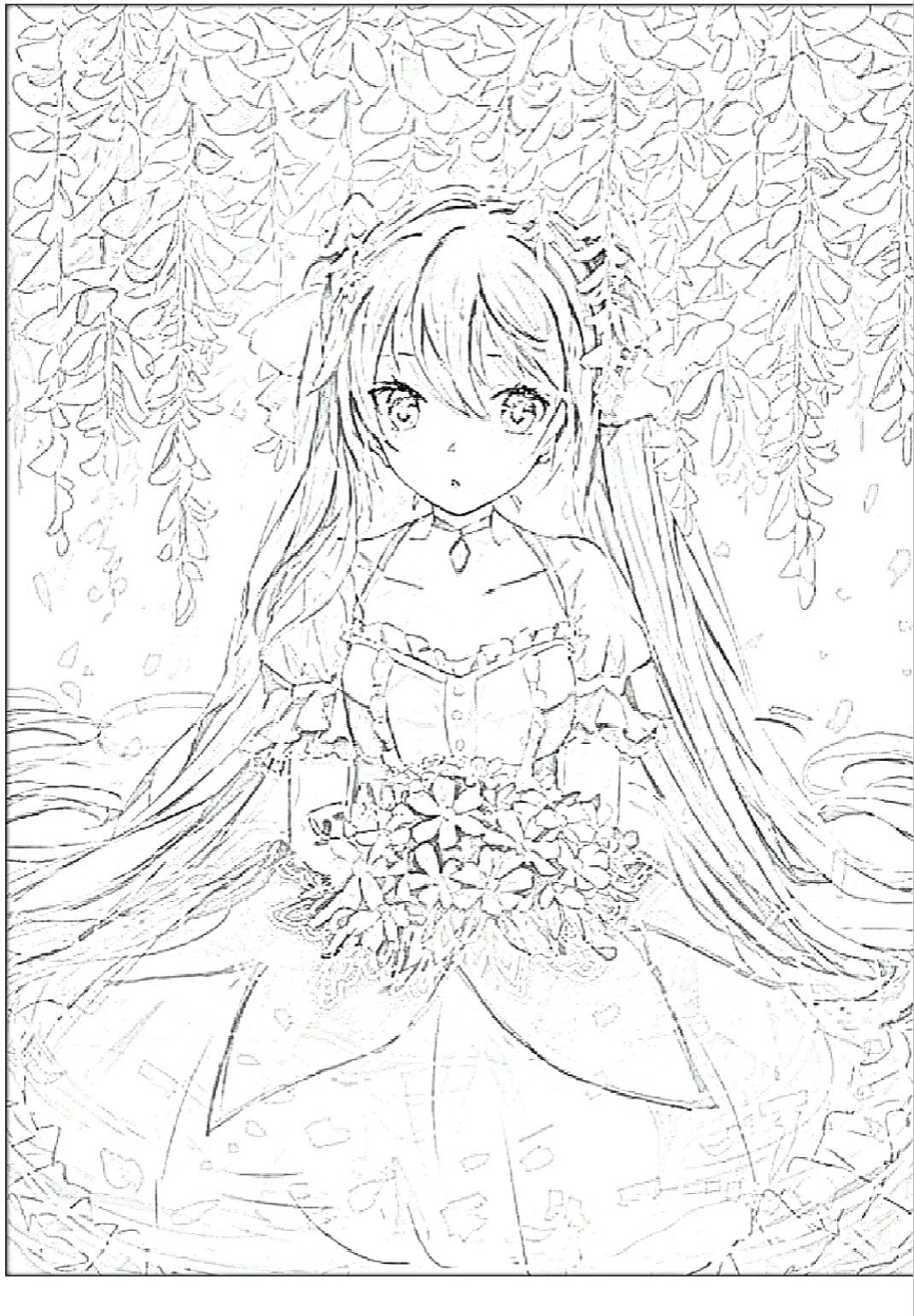 Girl And Flowers Coloring Pages Anime Coloring Pages Anime Color