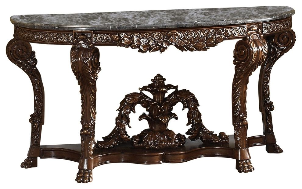 Lowest Price On Meridian Chateau Cherry Console Table With Genuine Marble Top 402 T Shop Today Meridian Furniture Glass Accent Tables Console Table