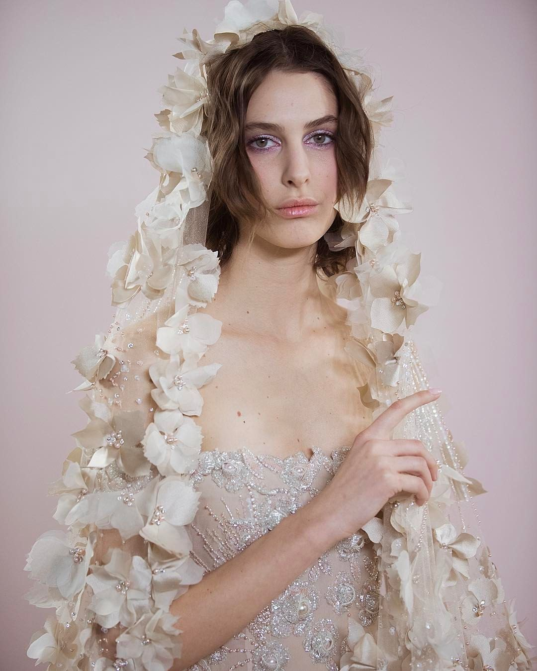 Georges hobeika luxury bridal veil whimsical highly textured bliss