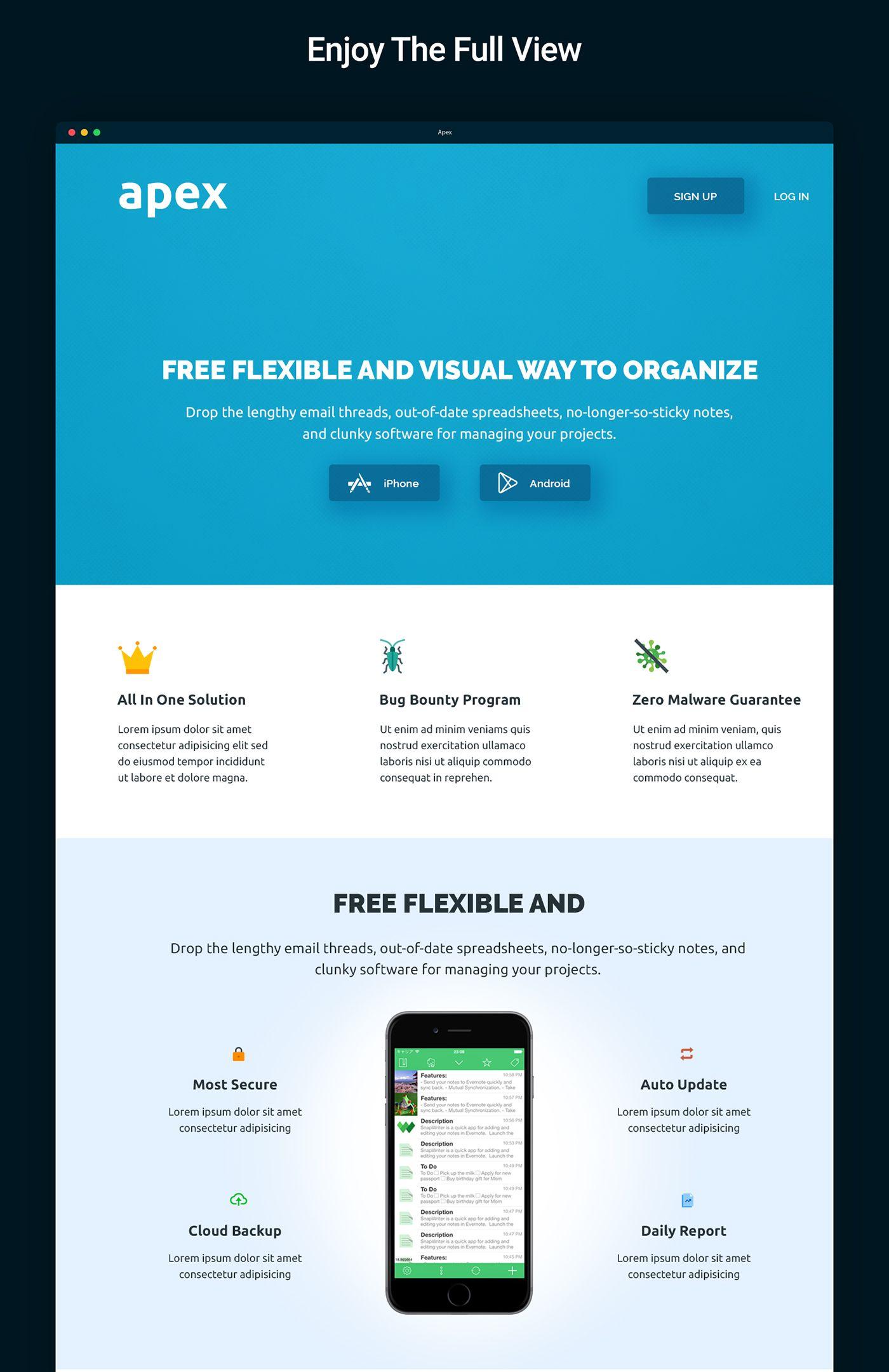 Free App Website apex - free app landing page on behance