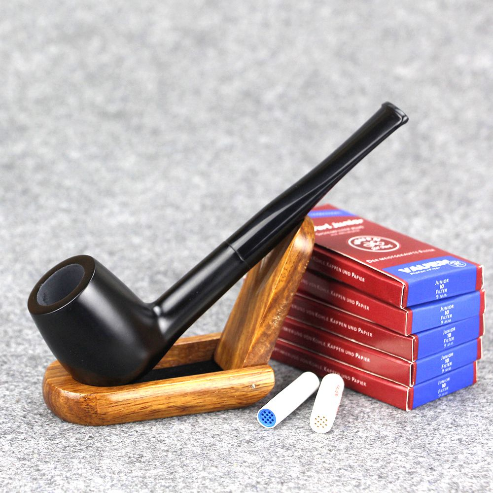 ( 1 Pipe u0026 50 Filters ) New Ebony Wood Pipe Filter Straight Tobacco Pipe Black Wooden Smoking Pipe Set & 1 Pipe u0026 50 Filters ) New Ebony Wood Pipe 9mm Filter Straight ...