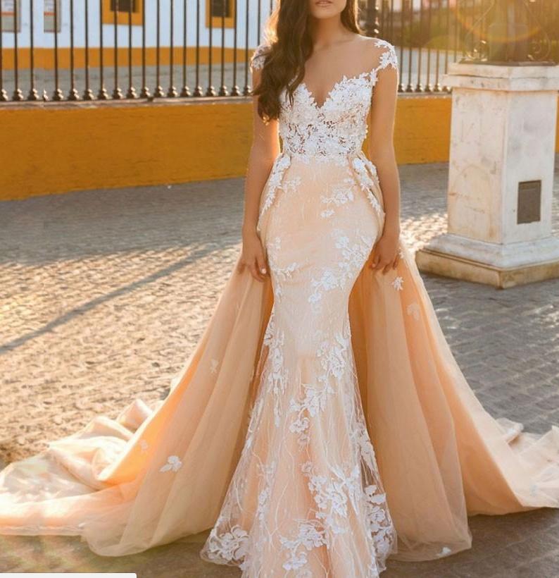 Detachable Train Sheath Bridal Gown Exquisite Applique
