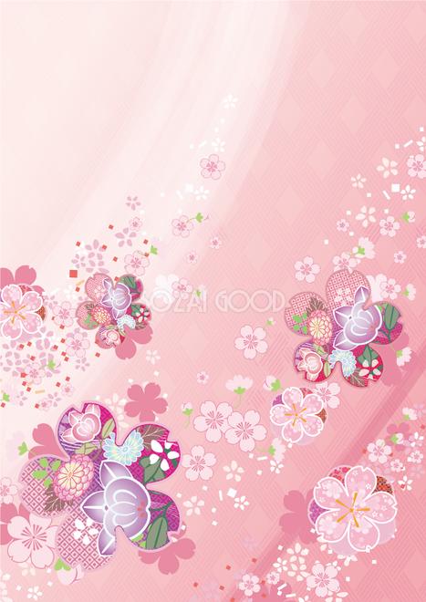 縦の和風(桜)背景フリー無料イラスト画像83224