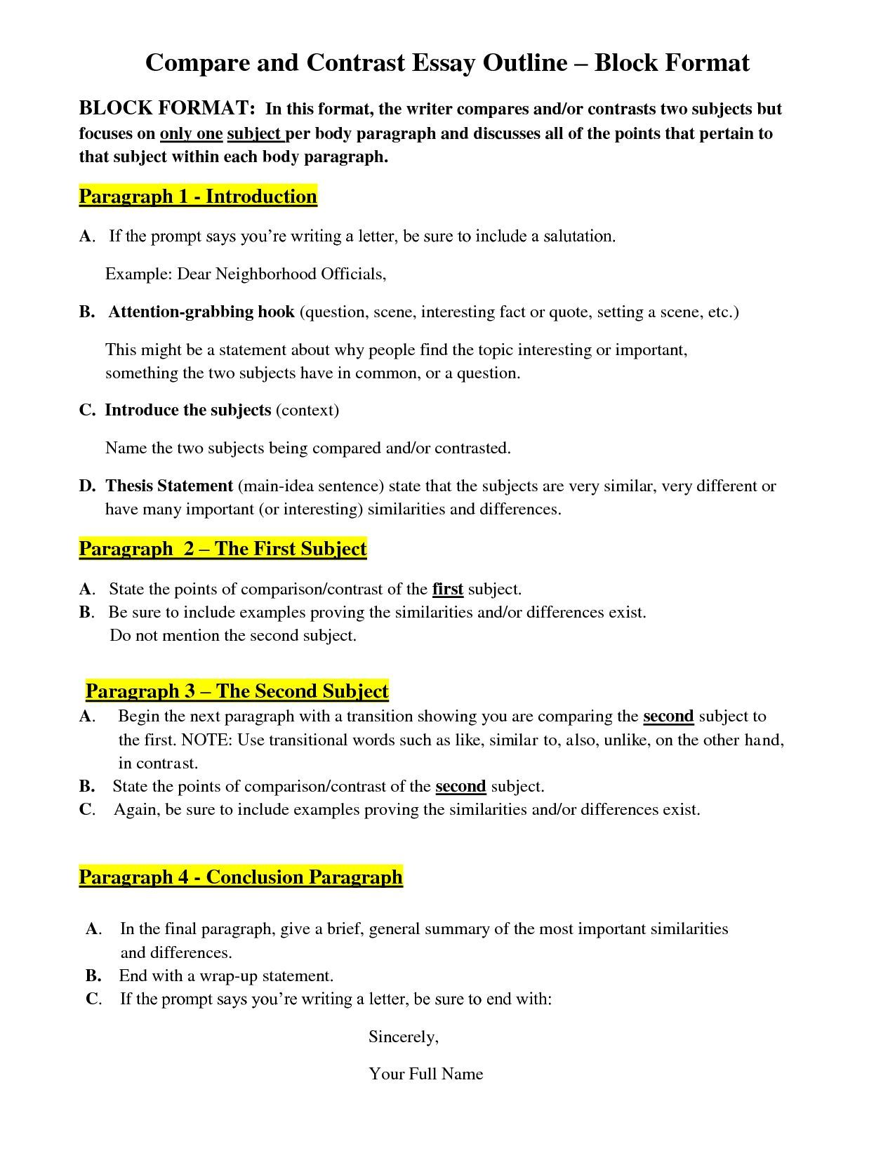 Compare and contrast essay example thesis statement writing my performance evaluation