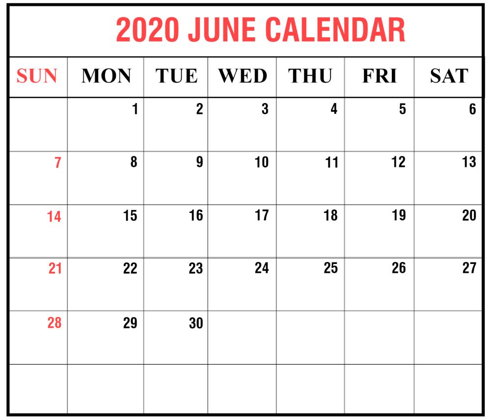 Print June 2020 Calendar Excel Sheet Free Printable