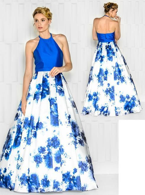 Colors 1682 Halter Top Floral Print Prom Evening Dress   Dresses ...