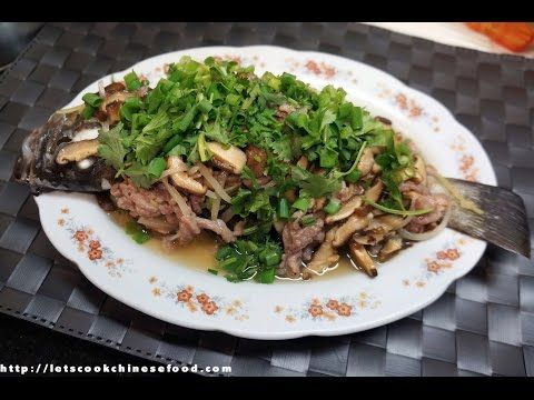 Youtube steamed fish with mushrooms n pork slices china food chinese recipe steamed fresh fish with chinese mushroom and pork forumfinder Choice Image