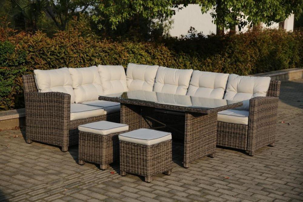 New Madero Lounge Rattan Dining Set Ecru Cushions Garden Patio