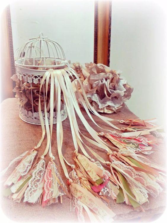 Ceremonia de cintas 15 a os jaula shabby completa nica for 15 anos vintage decoracion