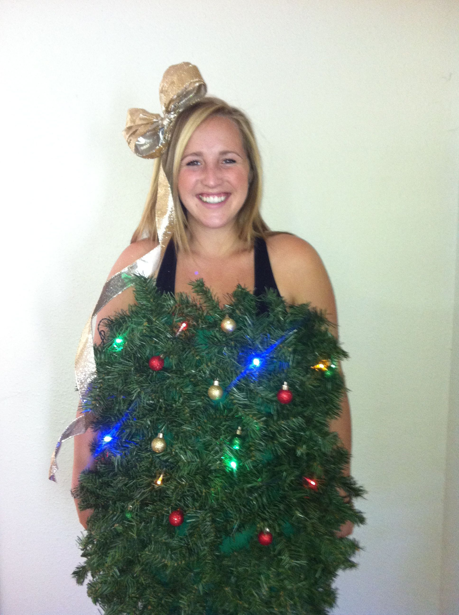 Diy Christmas Tree Costume Fake Garland And Battery Operated Lights Tree Costume Diy Christmas Tree Christmas Tree Costume