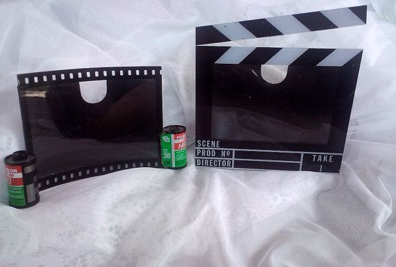 2 Vintage Novelty plastic Photo Frames - Camera Film and Scene Marker