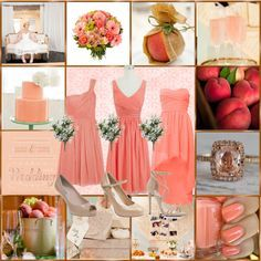 Peach Wedding Theme Dresses Cake Nails Shoes Drinks
