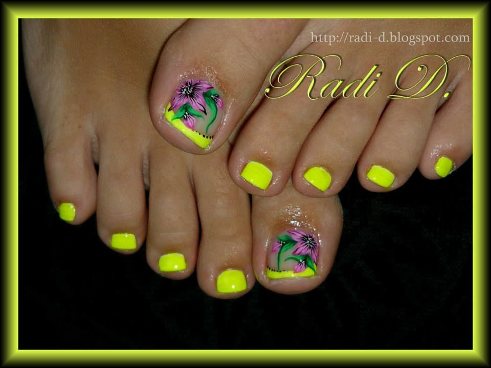 Yellow Neon Flowers Toe Nails Neon Toe Nails Toe Nail Designs
