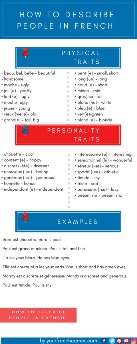 How To Describe Someone Physical Personality Traits In French Learn French French Flashcards How To Speak French